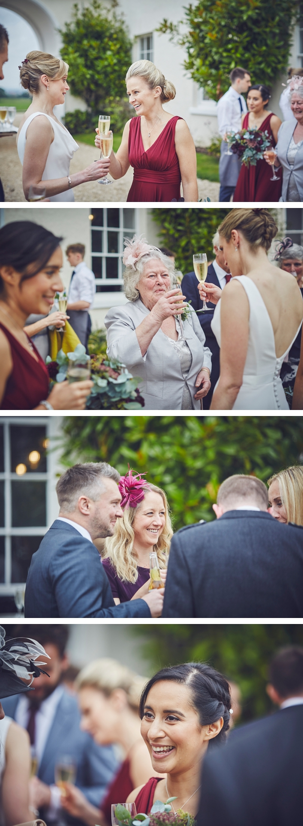 relaxed reportage wedding photography of guests at Rockbeare Manor Devon