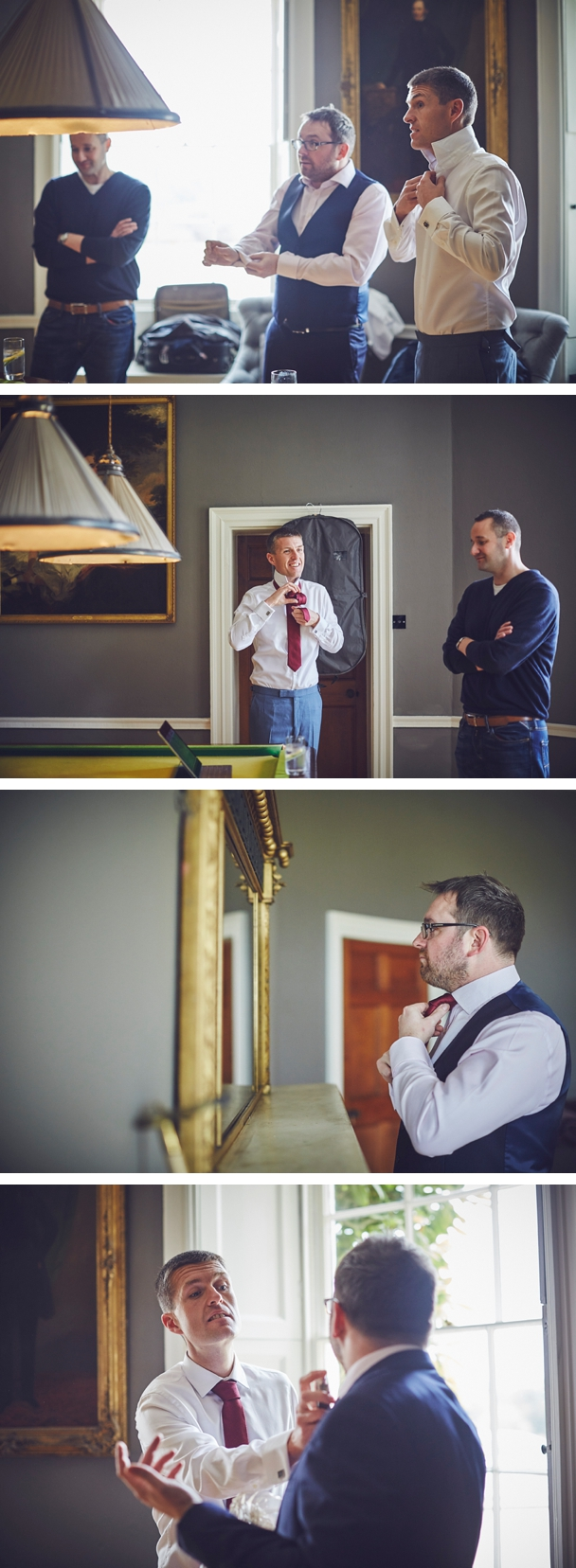 candid photography of groom, best man and ushers getting ready before wedding ceremony at Rockbeare Manor Devon