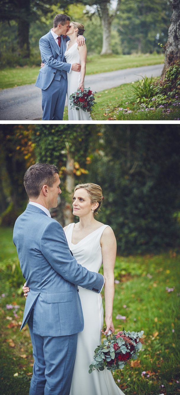 bride and groom portrait photography at relaxed autumn wedding at Rockbeare Manor Devon