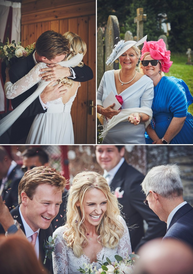 relaxed wedding photography of bride and from and guests at a south hams wedding in devon
