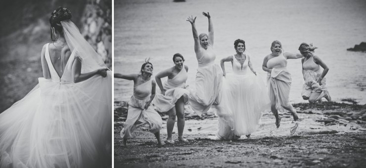bride and bridesmaids having fun at tunnels beaches in devon