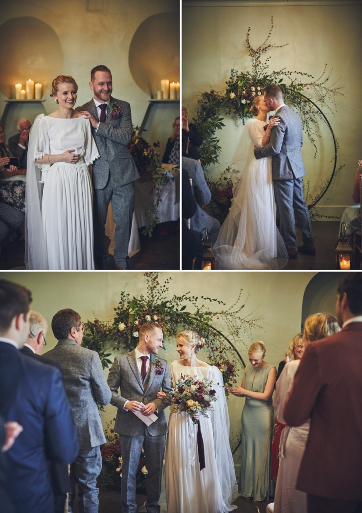 candid wedding photography of an Autumn wedding ceremony in the barn at Hotel Endsleigh in Devon