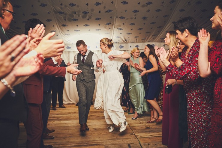 relaxed, fun wedding photography of bride and groom's first dance at Hotel Endsleigh in Devon
