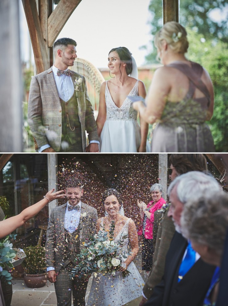 bride and groom during wedding ceremony and confetti throw at upton barn and walled garden Devon