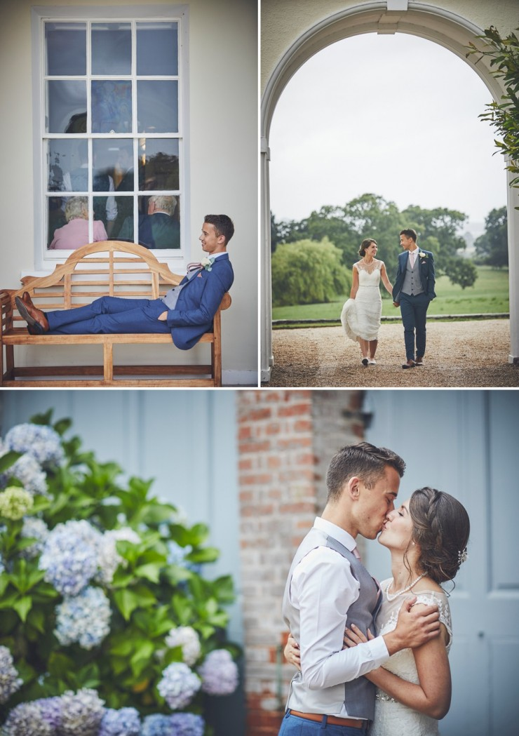 relaxed wedding photography of bride and groom at a wedding at Rockbeare manor in Exeter devon