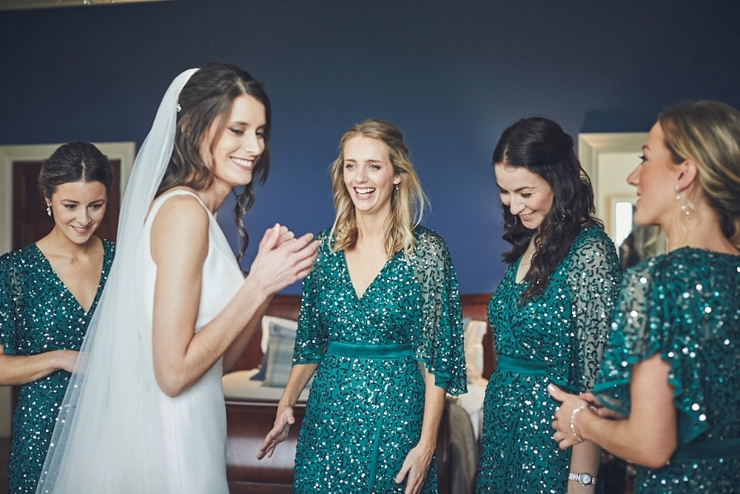bride and bridesmaids before the ceremony at a micro wedding at rockbeare manor devon