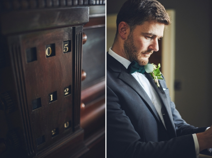 groom getting ready at covid wedding at Rockbeare manor in Devon