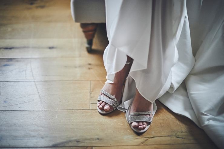 brides wedding shoes at a small wedding in Devon