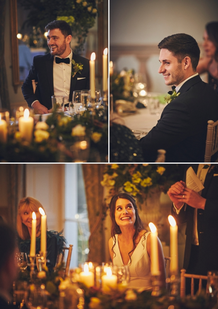 relaxed wedding photography of guests laughing during speeches at intimate winter wedding at Rockbeare Manor in Devon