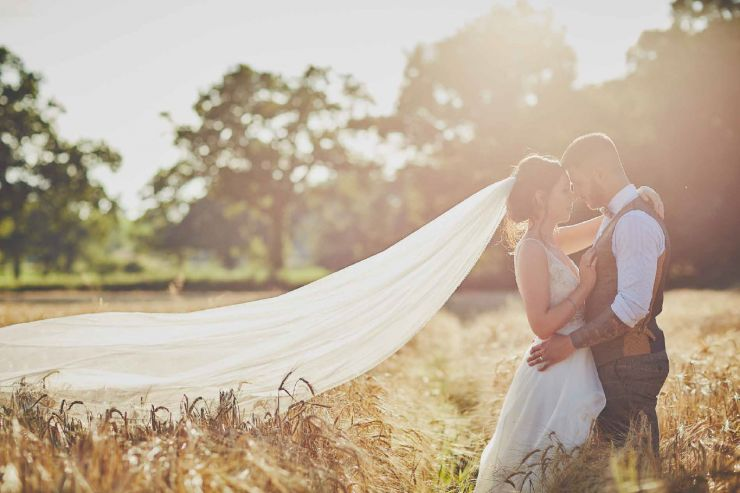 Golden hour wedding photography of Abi and Jake at Upton barn and Walled Garden in Devon