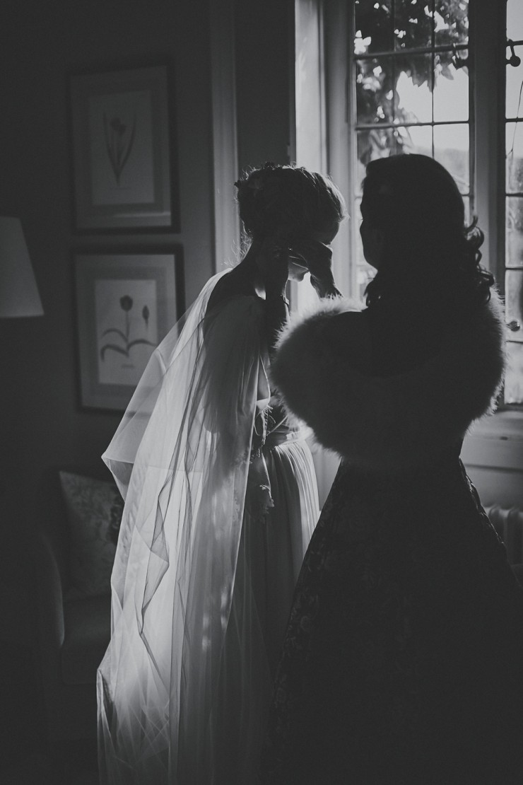 black and white portrait photography of stunning bride getting ready for her wedding at Hotel Endsleigh in Devon