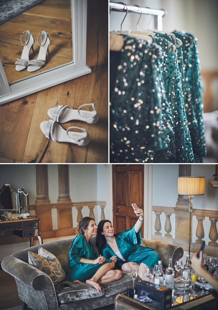 bridesmaids taking selfie and bridal shoes ready for micro wedding in Devon