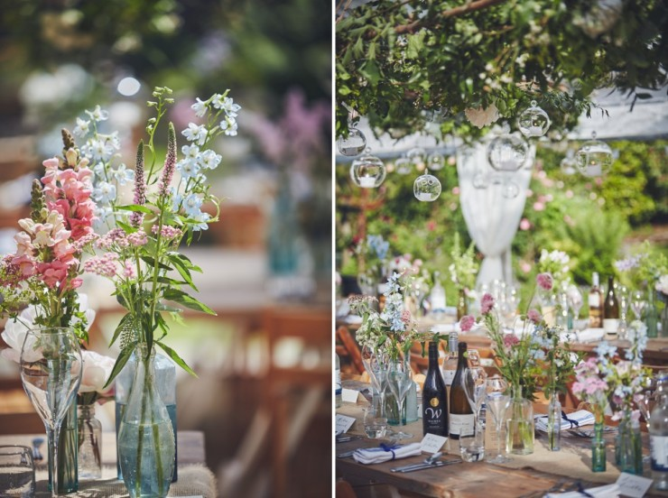 relaxed wedding photography of marquee styling at country wedding in Devon