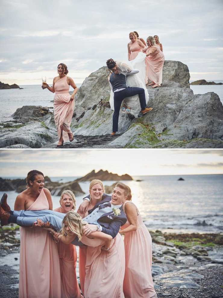 bridal party having fun at tunnels beaches in devon