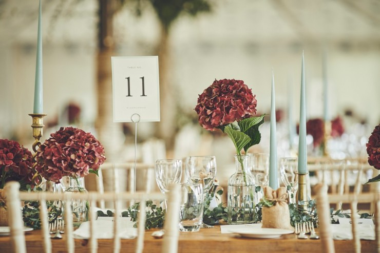 photography of marquee table details at Hotel Endsleigh in Devon