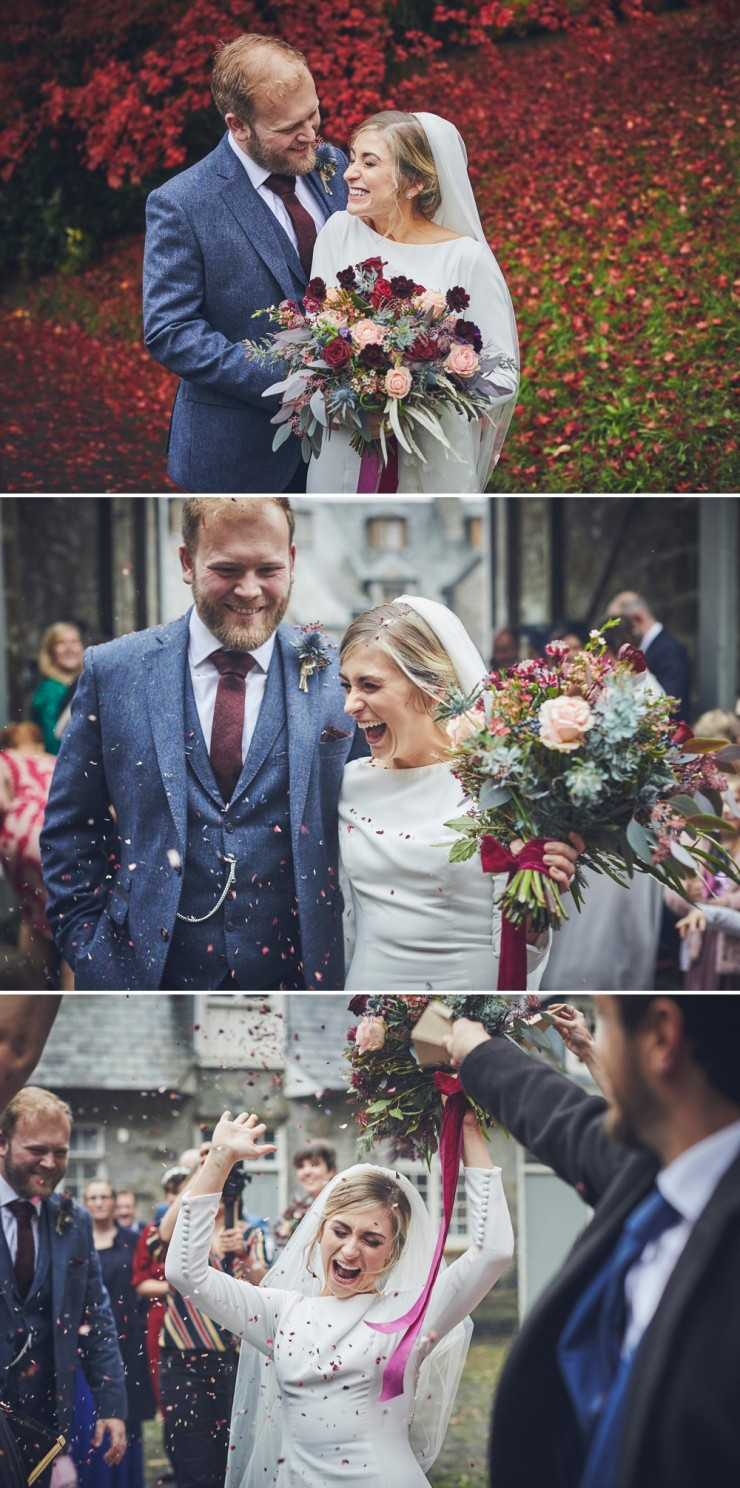 relaxed wedding photography of bride and groom laughing at Hotel Endsleigh in Devon