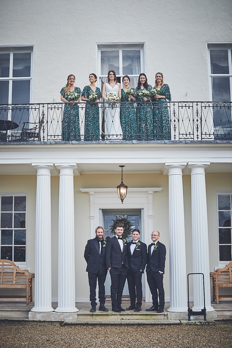 bridal party and groomsmen at a mini wedding at Rockbeare Manor in Devon