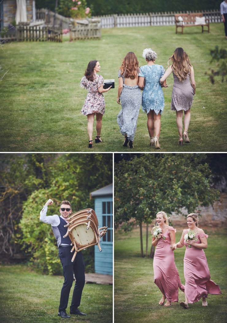reportage wedding photography of guests having fun at a Somerset wedding
