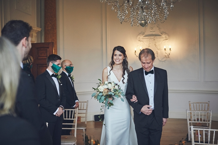wedding photography of dad walking daughter down the aisle at small Rockbeare manor wedding