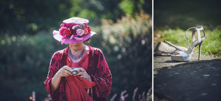 documentary wedding photography from team of two in devon showing guests shoes taken off and guest in pink floral hat