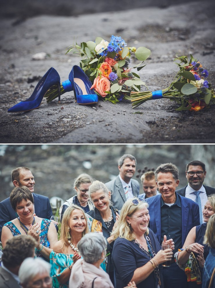 documentary wedding photography of shoes and flowers at tunnels beaches in devon