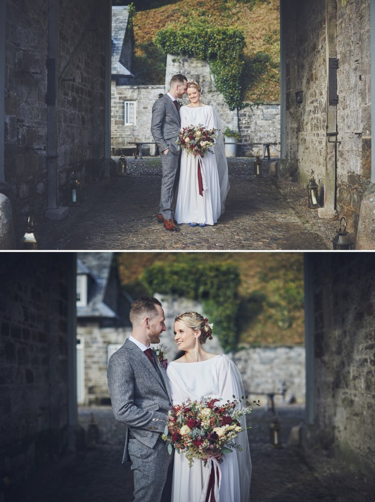 relaxed, creative wedding photographer takes portraits of bride and groom at their Autumn wedding at Hotel Endsleigh in Devon