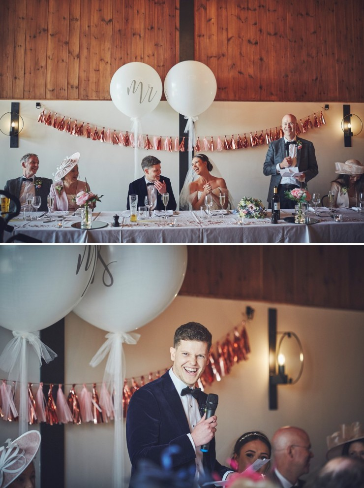 relaxed wedding photography of speeches at upton barn and walled garden devon