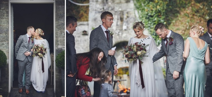 candid wedding photography of an Autumn wedding in the barn at Hotel Endsleigh in Devon