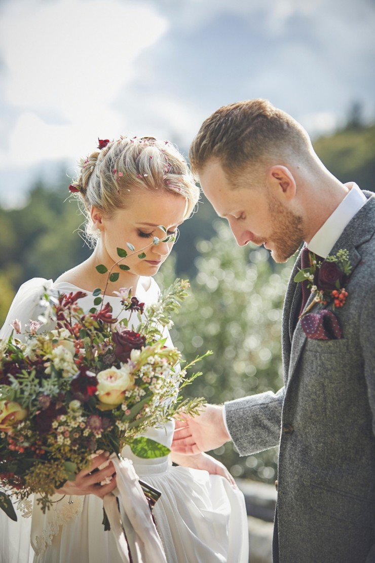 relaxed, beautiful contemporary wedding photography of bride and groom at their Autumn wedding at Hotel Endsleigh in Devon