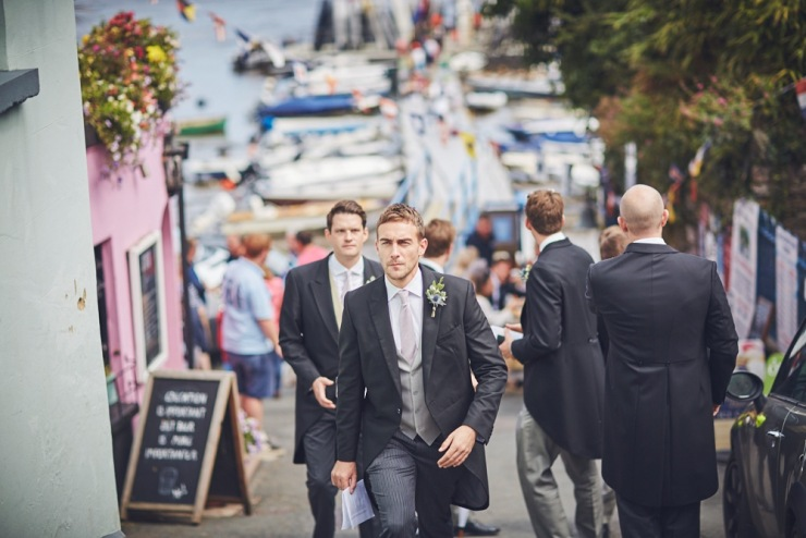 reportage wedding photography of grooms preps in Devon