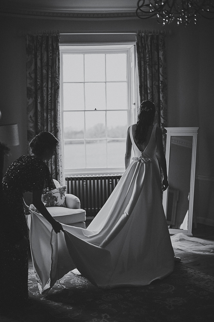 bride and MOH just before her mini wedding ceremony at Rockbeare manor Devon