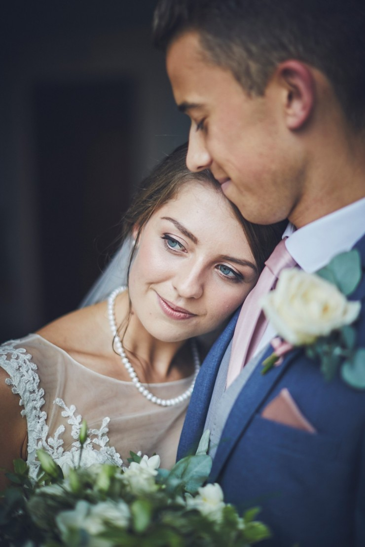 portrait wedding photography of bride and groom at a wedding at Rockbeare manor in Exeter devon