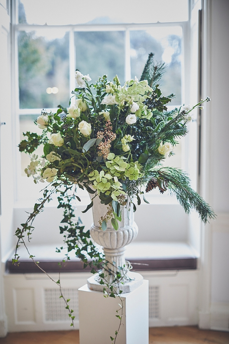 ceremony flowers at winter micro wedding at Rockbeare manor Devon