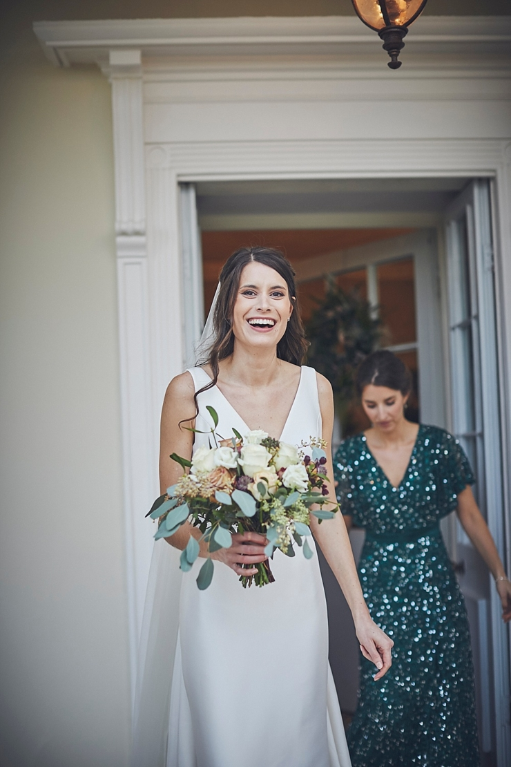relaxed wedding photography and happy bride at mini wedding in Devon