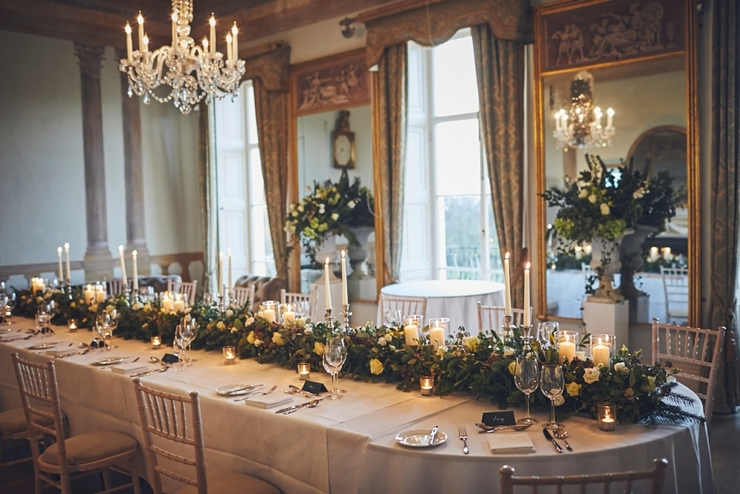 style and table details at small winter wedding at Rockbeare Manor in Devon