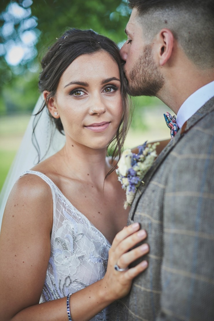 bridal portrait from a relaxed wedding at Upton Barn and Walled Garden in Devon