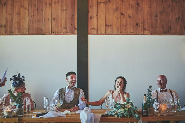 laughing at speeches at Upton Barn and Walled Garden in Devon