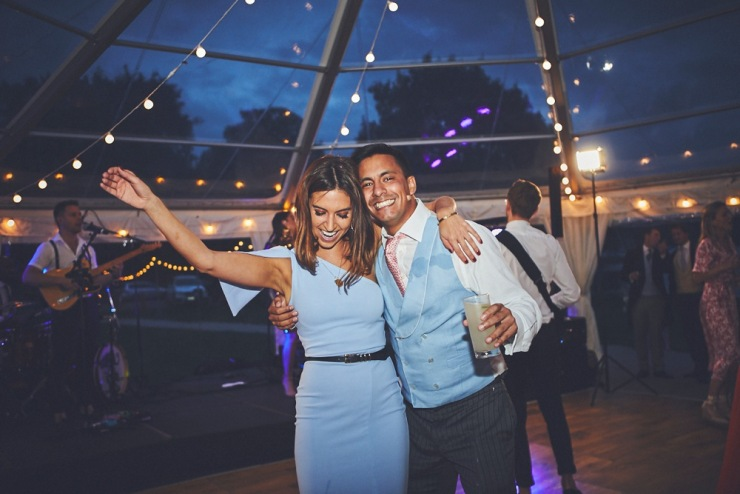 relaxed wedding photography of dancing at Devon wedding