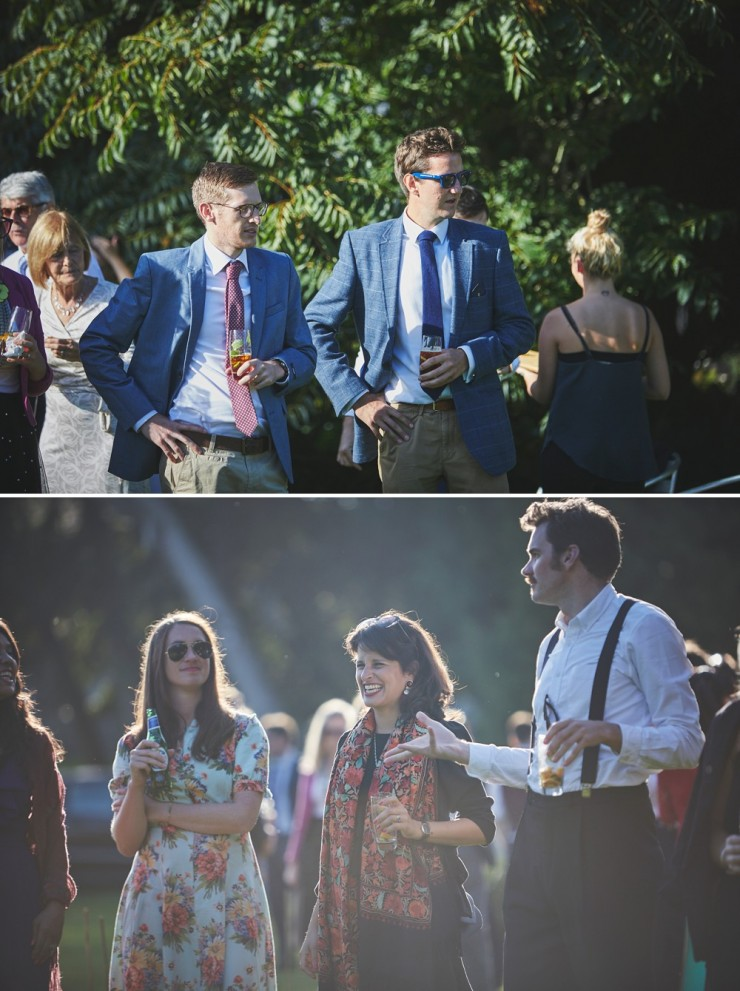 reportage wedding photography of male guests at South Allington House in Devon