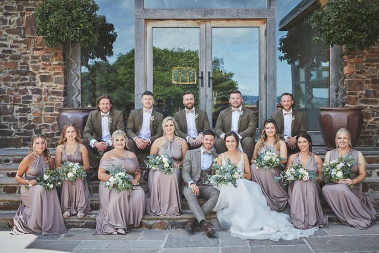 bridal party and groomsmen at Upton Barn and Walled Garden in Devon