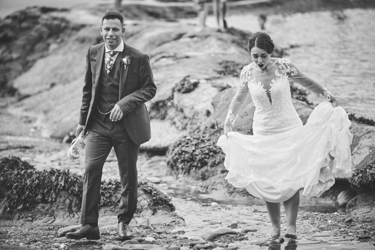 documentary wedding photography of couple at Tunnels Beaches in devon