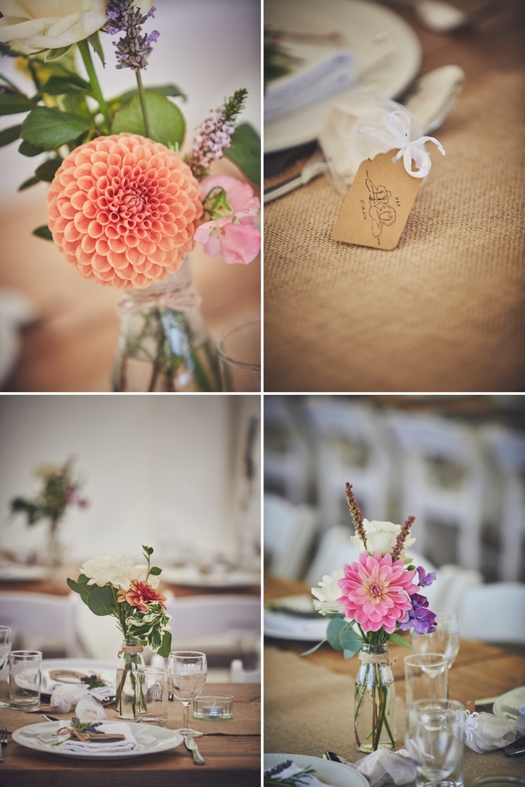 beautiful table styling and wedding flowers in marquee in Devon