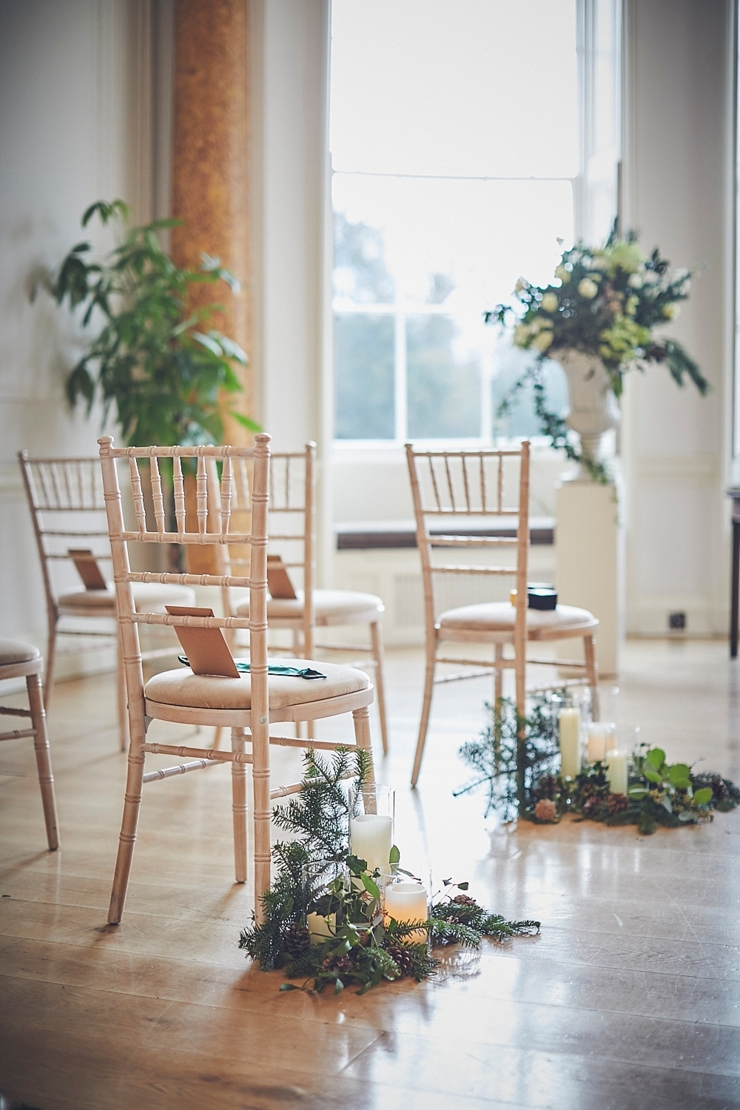 ceremony styling at winter micro wedding at Rockbeare manor Devon