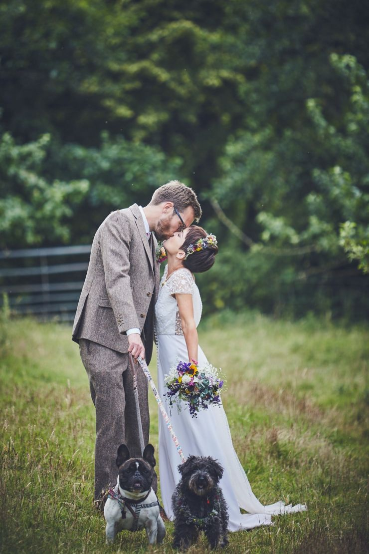 bride and groom portrait photography with their dogs at West Town Farm barn wedding in devon
