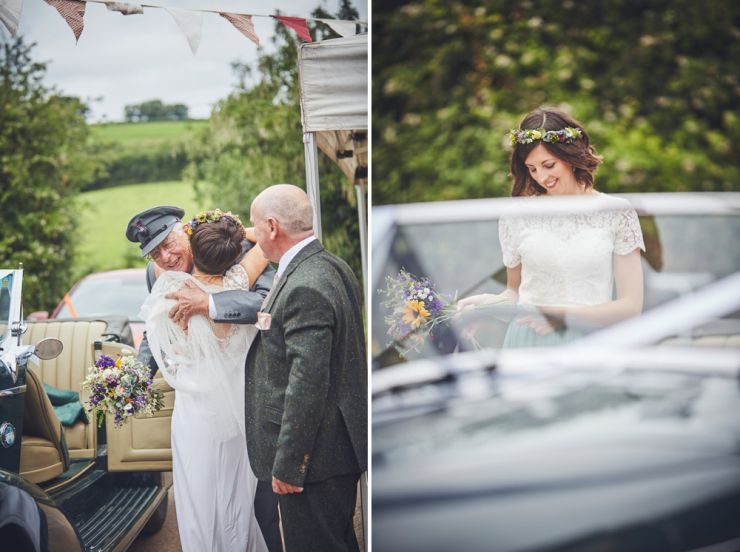wedding photography of grandad and bride embracing at West Town Farm in Devon