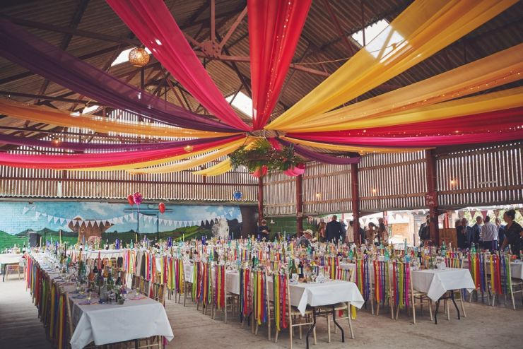 West Town Farm barn decorated for Exeter wedding