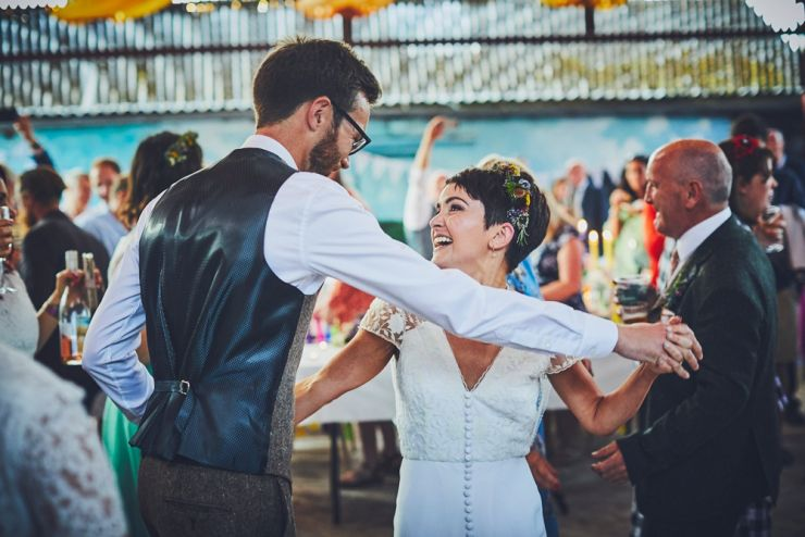 wedding couples crazy first dance at West Town Farm