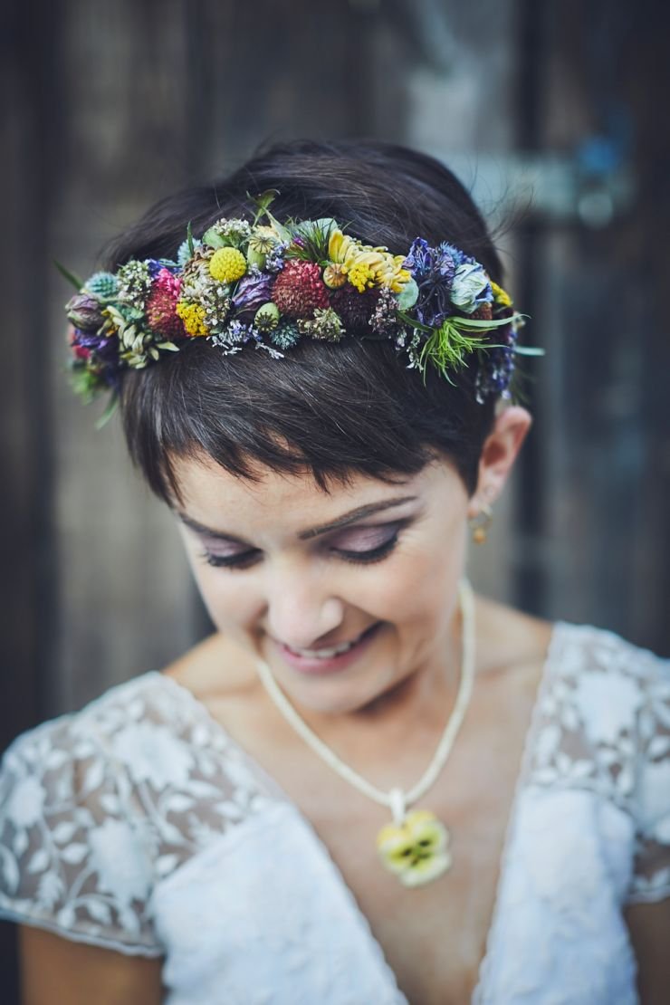 wedding fine art portrait of brides flower crown