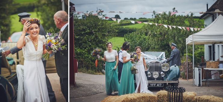 wedding photography of bride and dad with vintage wedding car at West Town Farm barn venue in Exeter