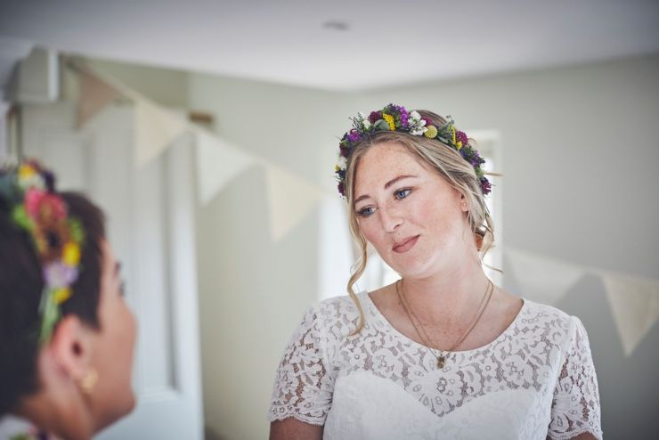bridesmaids happy with flower crown